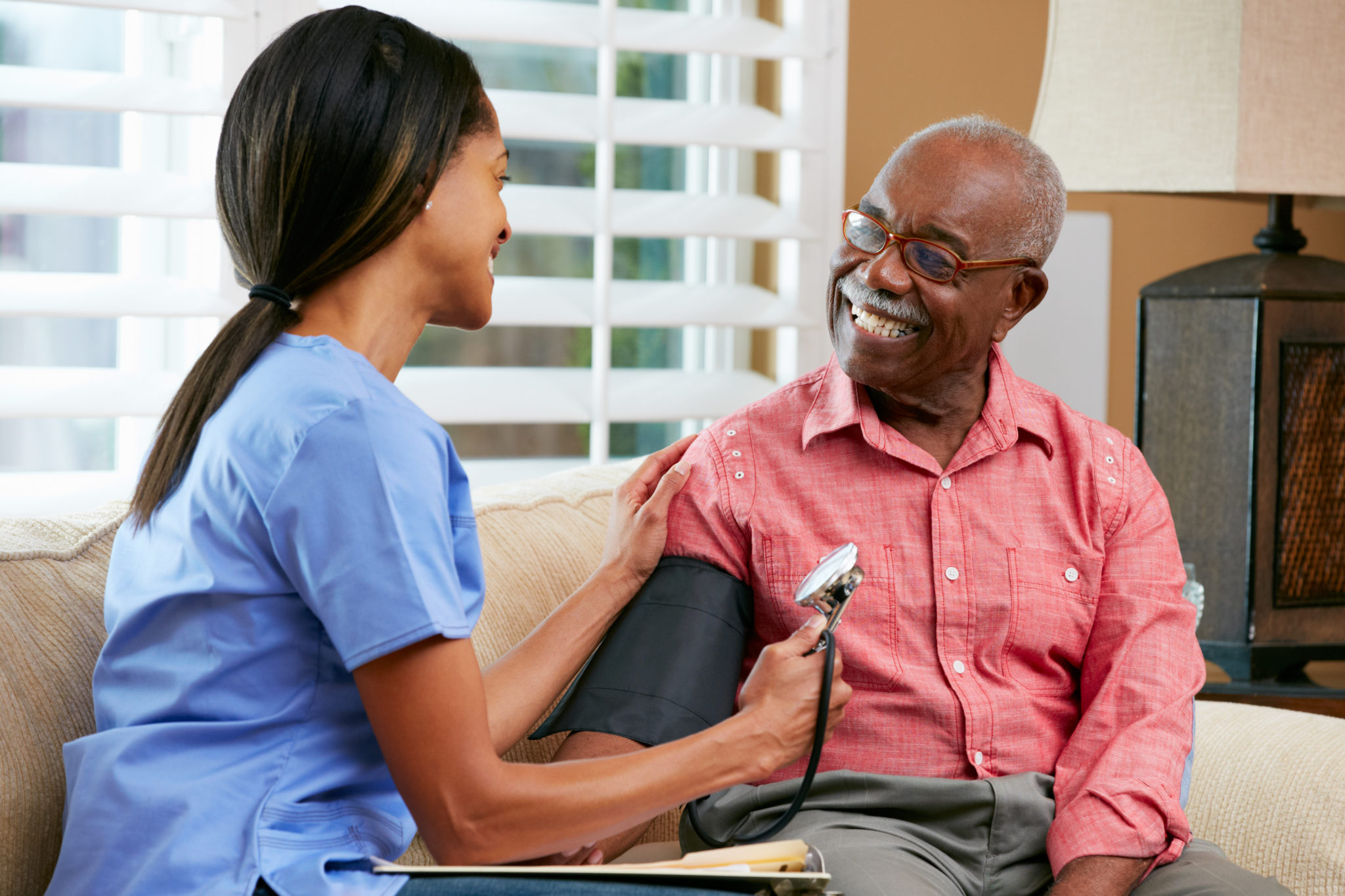 Nurse Visiting Senior Male Patient At Home Guardian Healthcare Main Office Located in Brockway, PA Pennsylvania