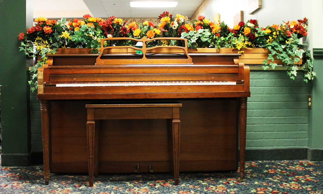 Piano Decorated for Fall